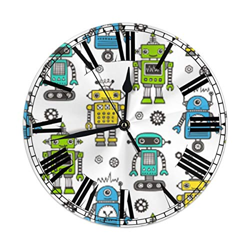 TMVFPYR Retro Robots Wall Clock Silent & Non-Ticking Round Clock Quiet Desk Clock for Home Office School