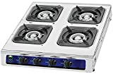 Unique Imports #1 Heavy Duty 4 Burner Propane Gas Stove Outdoor Cooking Butane Gas Stove Full Stainless Steel Body with Electronic Ignition