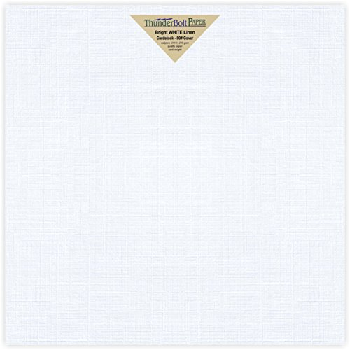 50 Bright White Linen 80# Cover Paper Sheets - 12X12 Inches Square Scrapbook Album Size - 80 lb/pound Card Weight - Fine Linen Textured Finish Cardstock (Textured Cardstock Scrapbook)