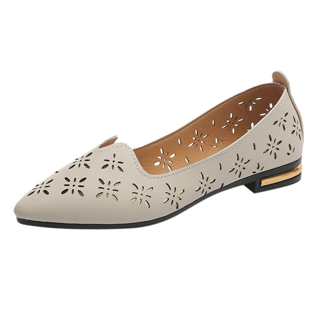 KESEELY Women's Elegant Pointed Toe Single Shoes Ladies Fashion Casual Shallow Work Shoes Breathable Hollow Flat Shoes Beige