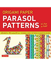 """Origami Paper 8 1/4"""" (21 cm) Parasol Patterns 48 Sheets: Tuttle Origami Paper: High-Quality Origami Sheets Printed with 12 Different Designs: Instructions for 6 Projects Included"""