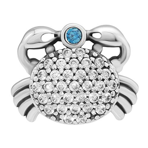 CKK Ocean Crab Bead Fits Pandora Charms Bracelets 925 Sterling Silver CZ Charm for Jewelry Making Valentines Day Gift