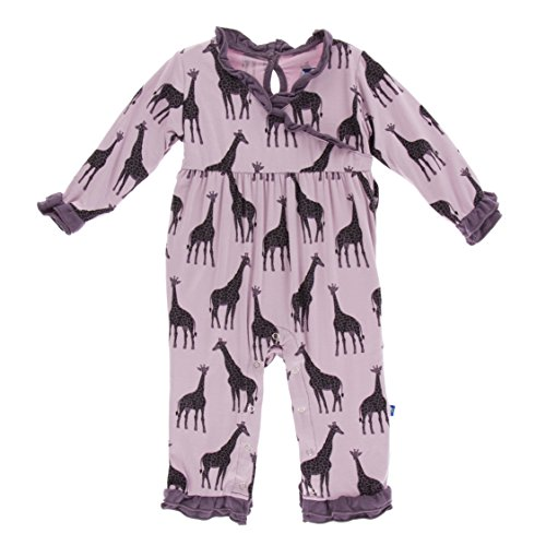 Kickee Pants Little Girls Print Long Sleeve Kimono Ruffle Romper - Sweet Pea Giraffe, 12-18 Months -