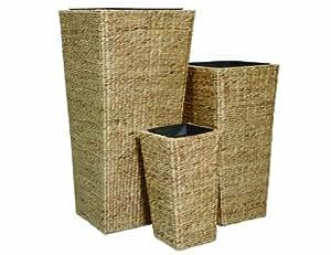 Siena Garden 655126 Derby - Maceteros cuadrados de fibra de camalote trenzada (3 unidades), color natural