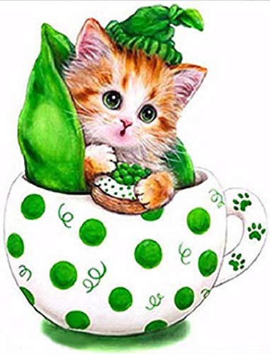 New 5D Diamond Painting Kits for Adults Kids, Awesocrafts Pea Kitten Cup Partial Drill DIY Diamond Art Embroidery Paint by Numbers with Diamonds (Pea) (Rooster Sale For Paintings)