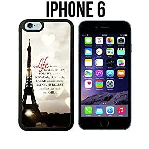 Life Is Short Romantic Paris Effiel Custom made Case/Cover/Skin for iPhone 6 - Black