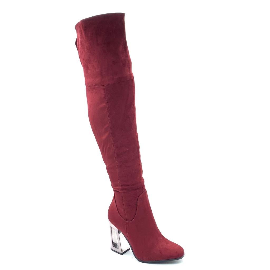Angkorly - Damen Schuhe Oberschenkel-Stiefel - Reversible - Flexible - Modern Blockabsatz high Heel 10 cm