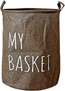 YASSUN Dirty hamper, Folding Laundry Basket, Dirty Clothes Storage Basket, Collapsible Laundry Basket as Space Saving Organizer for Storing Laundry, Quilt, Kids Toys, (15.8X15.8X19.7) Brown Letters