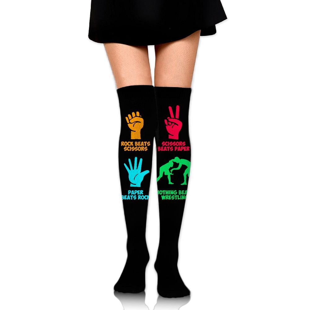 Rock Paper Nothing Beats Wrestling Girls Over The Knee Thigh High Stockings Fashion Socks