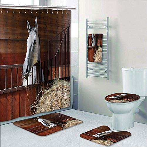 Bathroom 5 Piece Set shower curtain 3d print Customized,Horse Decor,Young Mare Eating Hay in Stable Rustic Barn Ranch House Decorative,Dark Olive and Green,Bath Mat,Bathroom Carpet Rug,Non-Slip,Bath T