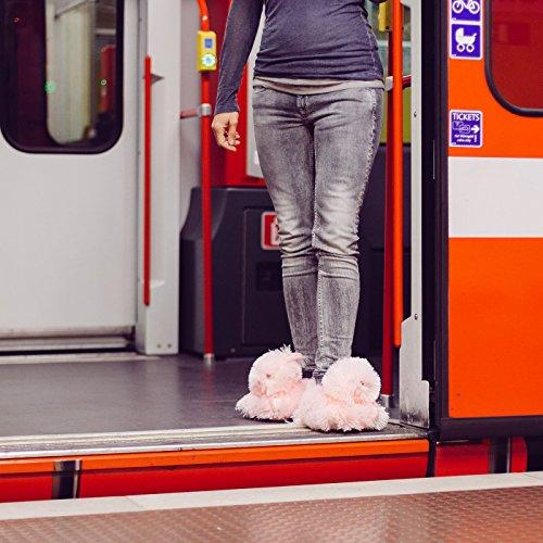 Funslippers®, Chaussons Animaux Fantaisie femme Testé pour les substances nocives**, avec semelle caoutchouc solide lapin rose