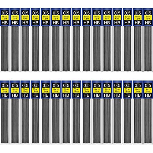 TecUnite 360 Pieces HB Black Lead Refills Mechanical Pencil Refills, 30 Tubes (0.5 mm)