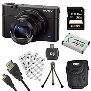 Sony DSC-RX100M III DSC-RX100M3 RX100M3 Cyber-shot Digital Still Camera Bundle with 32GB Card, Spare Battery, SD Card Reader, Case, LCD Screen Protectors, and Table top Tripod