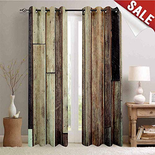 Hengshu Wooden Drapes for Living Room Antique Planks Flooring Wall Picture American Style Western Rustic Panel Graphic Print Window Curtain Fabric W96 x L108 Inch Brown