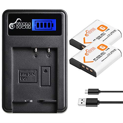 NP-BG1, Pickle Power (x2) NP-FG1 Batteries and LCD USB Charger Compatible with Sony Cyber-Shot DSC-W120 W150 W220 DSC-H3 H7 H9 H10 H20 DSC-H50 DSC-H55 DSC-H70 DSC-HX5V DSC-HX7V(1500mAh, 3.7V)