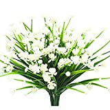 Artificial Fake Flowers, 4 Bundles Outdoor UV Resistant Greenery Shrubs Plants Indoor Outside Hanging Planter Home Garden Décor (White)