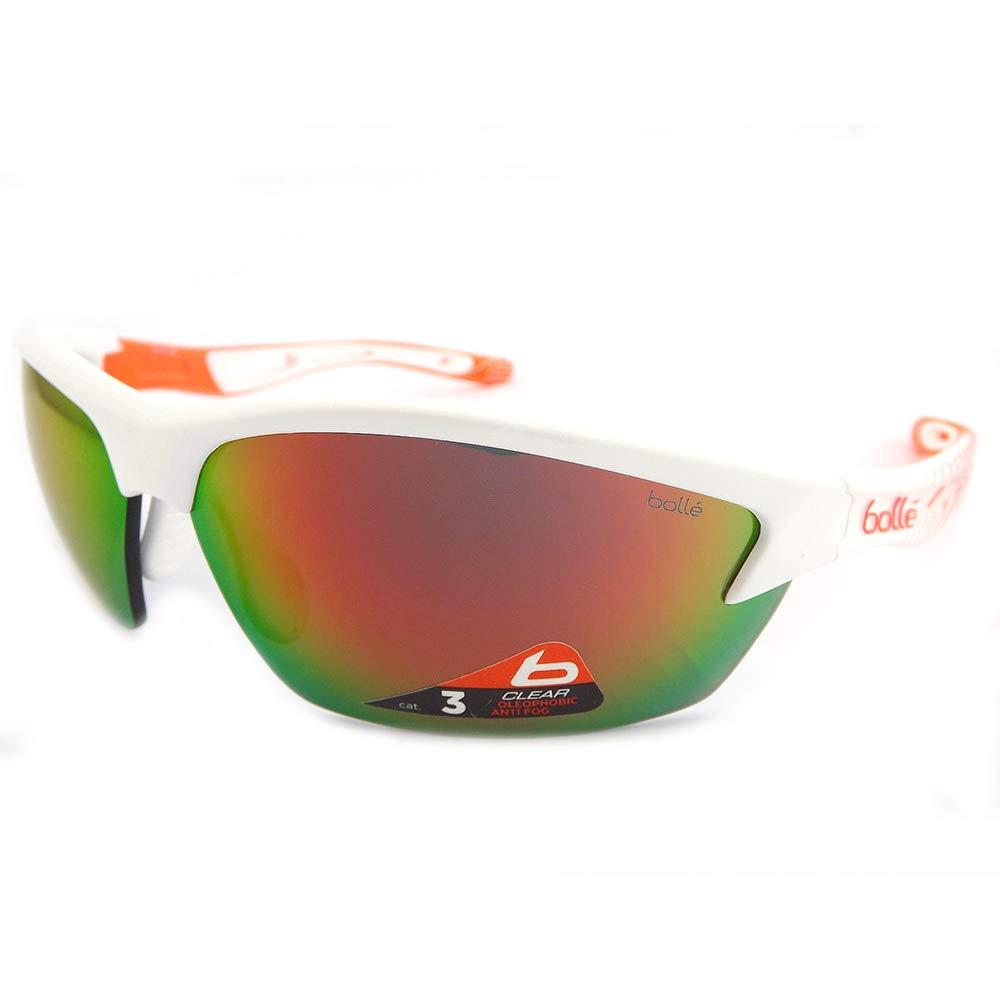 Bolle Bolt Sunglasses, Matte White/Fluorescent Orange TNS Fire Oleo AF by Bolle