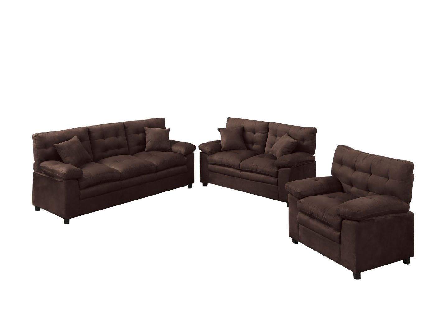 Poundex Bobkona Colona Mircosuede 3 Piece Sofa and Loveseat with Chair Set, Chocolate by Poundex