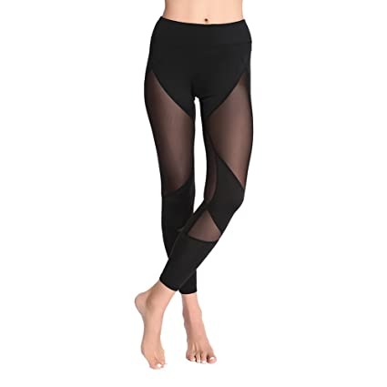 7aaef2bfc90 Amazon.com  Girls Tight Pants Yoga Women Workout Clothing Activewear Net  Yarn Splicing by Fenta  Sports   Outdoors
