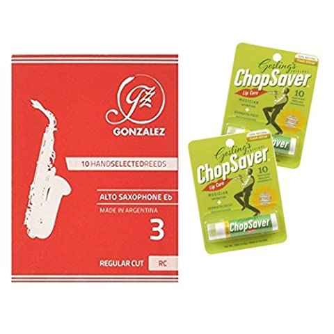 Alto Saxophone Reeds Pack Of 10 Reeds Strength 3 With Bonus 2 Pack Of Chopsaver Lip Balm - Chopsaver Lip Balm