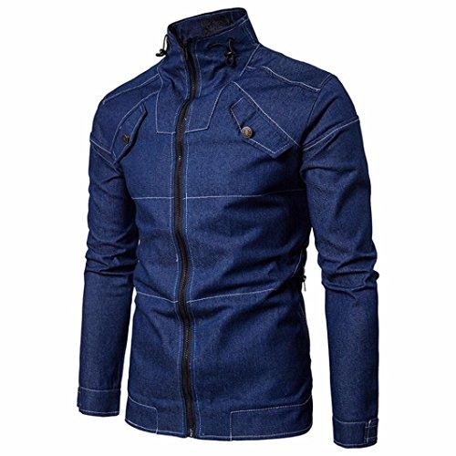 Denim Tops, Among Men's Spring Cowboy Jacket Slim Long Sleeved Shirt Stand Collar Solid Color Fit Blouse Zipper Coat (L, Blue)