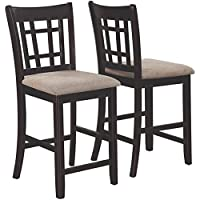 2 Pieces Coaster Company Lavon Dining Chair Counter Height Made of Wood and Fabric in Light Chestnut and Espresso Finish 20D x 18W x 41H in.