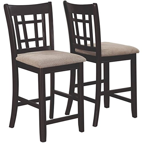 "2 Pieces Coaster Company Lavon Dining Chair Counter Height Made of Wood and Fabric in Light Chestnut and Espresso Finish 20""D x 18""W x 41""H in."