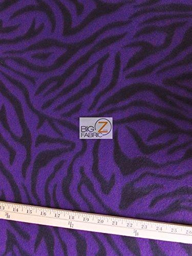 PURPLE ZEBRA PRINT POLAR FLEECE FABRIC 60