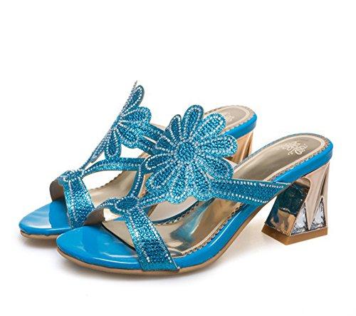 Easemax, Donna, Strass Elegante, Fiore Glitter, Punta Aperta, Senza Chiusura, Con Tacco Medio, Sandali Con Tacco Blu