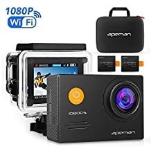 APEMAN Action Camera Full HD 1080P WiFi Waterproof Cam 14MP 2.0 Inch LCD Display 170o Ultra Wide-Angle Lens Sports Camera 2 Rechargeable 1050mAh Batteries with Portable Package and Outdoor Accessories Kits