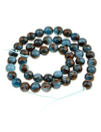 Prettyia Smooth Natural Blue Crazy Agate Gemstone Beads Strand Findings 6mm-10mm for Necklace Bracelet Making