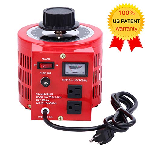 - Yonntech Auto Transformer 2000W 20Amp AC Variable Voltage Regulator 2000VA 0-130V Output Autotransformer 110V