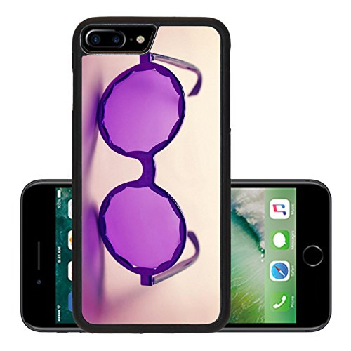 [Luxlady Premium Apple iPhone 7 Plus Aluminum Backplate Bumper Snap Case IMAGE ID: 34009416 Funky purple sixties hippy sunglasses with shadows] (60s Dress Up Costumes)