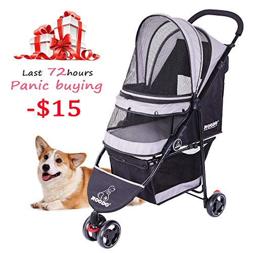ROODO Escort Pet Strollers Dog&cat pet Three-wheeled cart – Stylish, practical, long-lasting, can bear 40LB, can be folded, trade-in as long as 25% of the price, bid farewell to stench and shabby-Grey