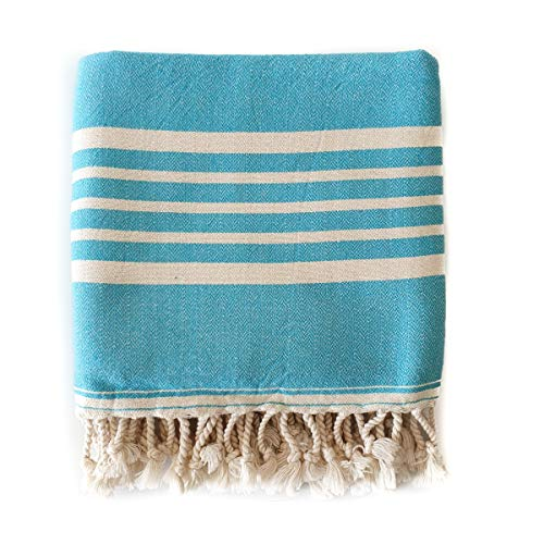 The Loomia Turkish Towel - Sia Series (100% Cotton, Size Extra Large) (Aqua Turquoise)