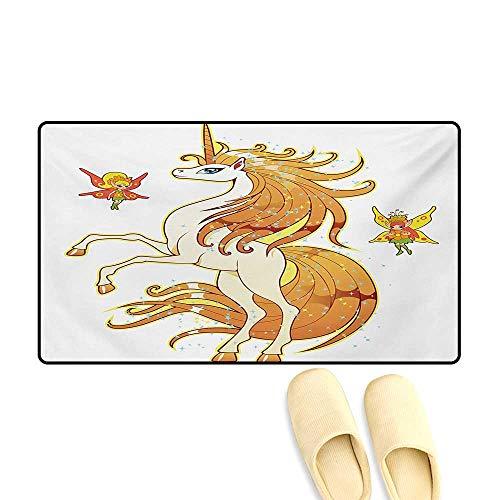 Door-mat,Exquisite Vivid Hair Cute Unicorn with Fairies Imaginary Legendary Creature Art Print,Door Mats for Inside Bathroom Mat Non Slip,Multi,32
