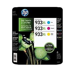 HP 933XL High Yield Officejet Ink Cartridges (Cyan / Magenta / Yellow) (CR316BN)