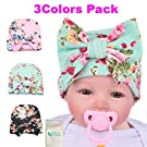 Gellwhu Infant Baby Girls Floral Print Nursery Newborn Hospital Hat Cap with Big Bow (3 Colors Pack)