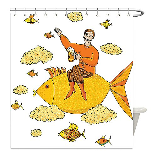 [Liguo88 Custom Waterproof Bathroom Shower Curtain Polyester Manly Decor Collection Man Holding Big Glass of Beer Floating on Fish Cartoon Character Foam Clouds Imaginary Art Mustard Decorative bathro] (Diy Cartoon Character Costume Ideas)