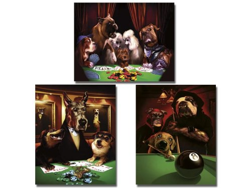 Dogs Pool Framed Playing (Set of 3 Dogs Playing Poker Pool Prints 8x10)