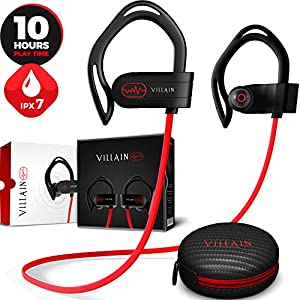 [2020 Edition] Villain Wireless Workout Bluetooth Headphones for Running and Gym – Best Sport Earbuds for Men & Women – Waterproof IPX7 Sports Earphones – Noise Cancelling Headset for iPhone & Android
