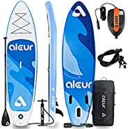 aleur Explorer Inflatable Stand Up Paddle Board Package W Premium SUP Accessories & Backpack, Non-Slip Dec