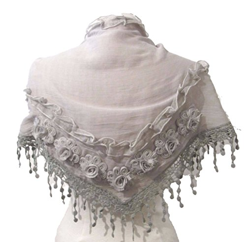 Spitze Grau Muster Grau gehäkelt mit Triangle floralem Schal ...