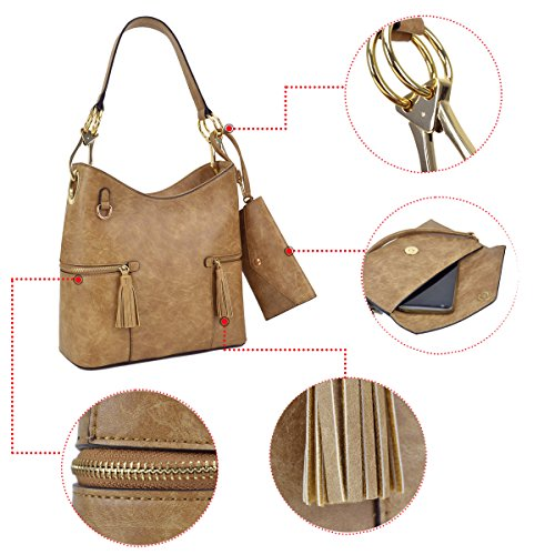 Classic Wristle Women Leather Big Shoulder Handbag PU Hook Bag khaki Purse Large Ladies Hobo Snap With Tote rqgrT
