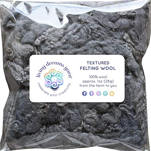 Yarn Wool Craft (Textured Felting Wool. Corriedale Fiber Includes Curly Locks for Needle Felting, Spinning, Doll Hair and Waldorf Crafts - Slate)
