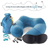 3in1 - TRAVEL NECK PILLOW with an excellent 3D SLEEP MASK, 1 pair of HIGH- FIDELITY EARPLUGS and a compact CARRY BAG – all the best things to relax your mind wherever you are – MyTravelUp (Blue)