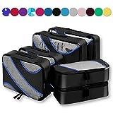 6 Set Packing Cubes,3 Various Sizes Travel Luggage Packing Organizers Black