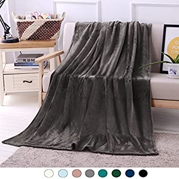 "Luxury Flannel Velvet Plush Throw Blanket - 50"" x 70"" (Grey) by Exclusivo Mezcla"