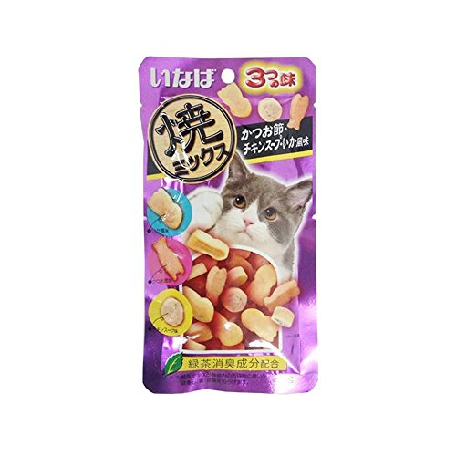 INABA Tuna and chicken tenderloin Mix dried fish Chicken in broth, Squid Flavor (25 g. X 3 pack)