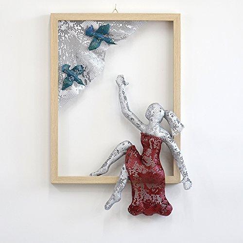Metal wall art, Framed art, women sculpture, Housewarming gift, Wire mesh sculpture, Contemporary art